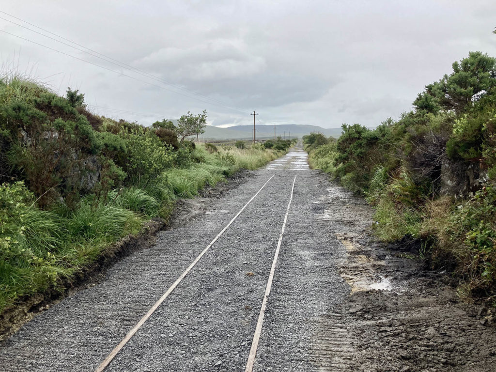 The finished temporary track looking towards Galway.